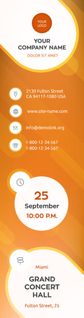 Business graphics banner template, orange colorful vector design.