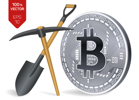 Bitcoin mining concept. 3D isometric Physical bit coin with pickaxe and shovel. Digital currency. Cryptocurrency. Silver coin with bitcoin symbol isolated on white background. Vector illustration Illustration
