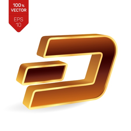 Dash symbol. 3D isometric golden Dash Sign. Digital currency. Cryptocurrency. Vector illustration