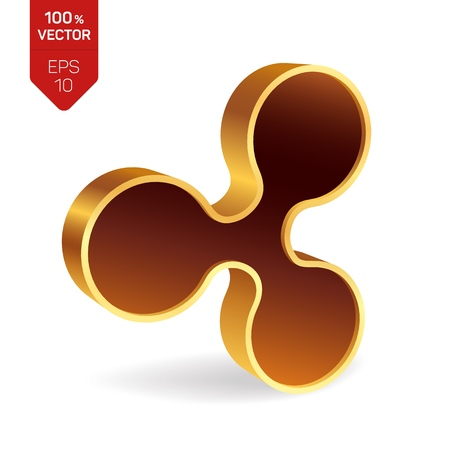 Ripple symbol. 3D isometric golden Ripple Sign. Digital currency. Cryptocurrency. Vector illustration