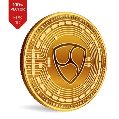 Nem. Crypto currency. 3D isometric Physical coin. Digital currency. Golden coin with Nem symbol isolated on white background. Vector illustration