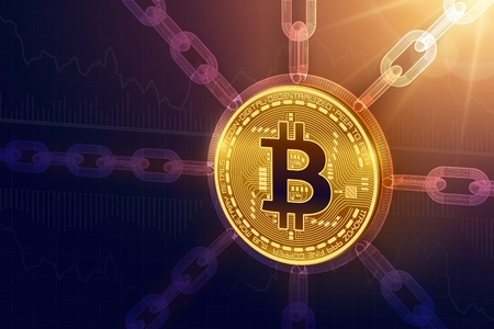 Bitcoin. Crypto monnaie. Chaîne de bloc. Pièce de monnaie Bitcoin physique isométrique 3D avec chaîne en fil de fer. Concept de blockchain. Modèle de cryptomonnaie modifiable. Illustration vectorielle stock