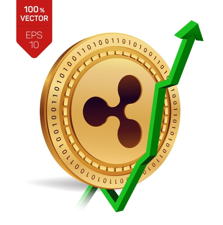 Ripple. Growth. Green arrow up. Ripple index rating go up on exchange market. Crypto currency. 3D isometric Physical Golden coin isolated on white background. Vector illustration