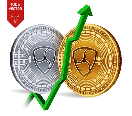 Nem index rating go up on exchange market. Crypto currency. 3D isometric Physical Golden and silver coins isolated on white background. Vector illustration.