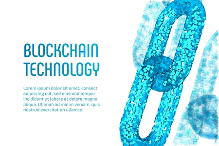 Block chain. Crypto currency. Blockchain concept. 3D wireframe chain with digital blocks. Editable cryptocurrency template. Stock vector illustration