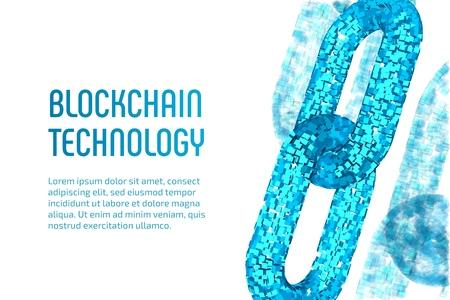 Chaîne de blocs. Monnaie cryptographique. Concept de blockchain. Chaîne filaire 3D avec blocs numériques. Modèle de crypto-monnaie modifiable. Illustration vectorielle stock Vecteurs