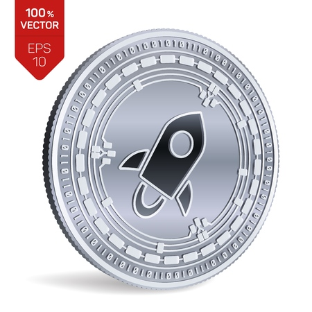 Stellar. 3D isometric Physical coin. Digital currency. Cryptocurrency. Silver coin with Stellar symbol isolated on white background. Vector illustration Illustration