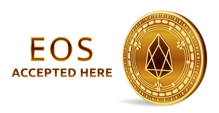 Eos. Accepted sign emblem. Crypto currency. Golden coin with Eos symbol isolated on white background. Illustration