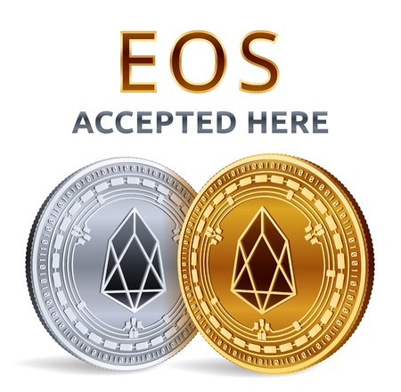 EOS. Accepted sign emblem. Crypto currency. Golden and silver coins with EOS symbol isolated on white background. 3D isometric Physical coins with text Accepted Here. Vector illustration