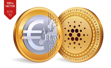 Golden coins with Cardano and Euro symbol isolated on white background. Vector illustration Illustration