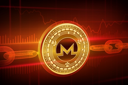 Physical golden Monero coin with wireframe chain.