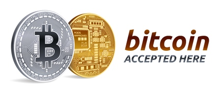 Bitcoin accepted sign emblem. 3D isometric Physical bitcoin with text accepted here. Crypto currency. Golden and silver coins with bitcoin symbol isolated on white background. Vector illustration