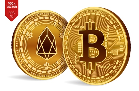Bitcoin and eos, 3D isometric physical coins. Digital currency, cryptocurrency. Golden coins with bitcoin and eos symbol isolated on white background vector illustration.