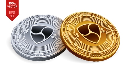 Nem. Crypto currency. 3D isometric Physical coins. Digital currency. Golden and silver coins with nem symbol isolated on white background. Vector illustration 矢量图像