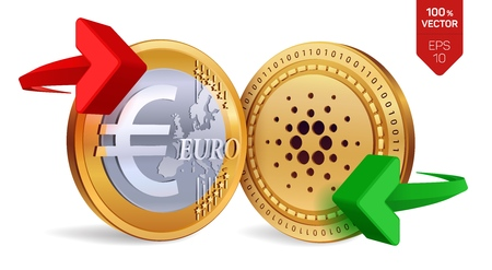 Cardano to Euro currency exchange. Cardano. Euro coin. Cryptocurrency. Golden coins with Cardano and Euro symbol with green and red arrows. 3D isometric Physical coins. Vector illustration