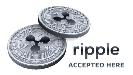 Ripple. Accepted sign emblem. Crypto currency. Silver coins with Ripple symbol isolated on white background. 3D isometric Physical coin with text Accepted Here. Stock vector illustration