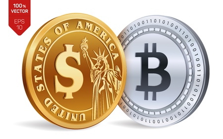 Bitcoin. Dollar coin. 3D isometric Physical coins. Digital currency. Cryptocurrency. Golden and silver coins with Bitcoin and Dollar symbol isolated on white background. Vector illustration