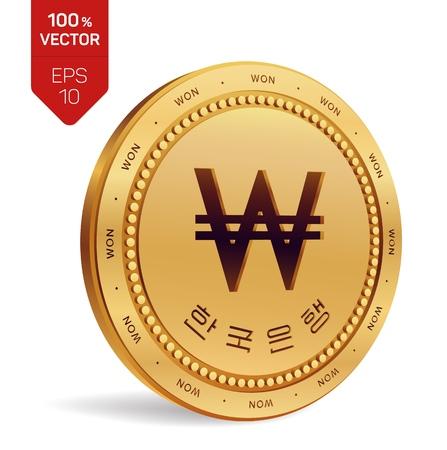 Won. Zuid-Koreaanse gewonnen munt. Realistische 3D isometrische fysieke munt met gewonnen symbool en met de tekst in Korean Bank of Korea geïsoleerd op een witte achtergrond. Muntstuk van Zuid-Korea. Vector illustratie.
