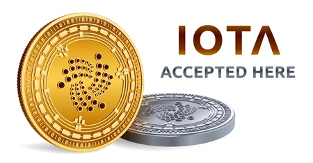 Iota. Accepted sign emblem. Crypto currency. Golden and silver coins with Iota symbol isolated on white background. 3D isometric Physical coins with text Accepted Here. Illustration