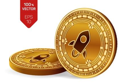 Estelar. Monedas físicas isométricas 3D. Moneda digital. Criptomoneda. Monedas de oro con símbolo estelar aislado sobre fondo blanco.