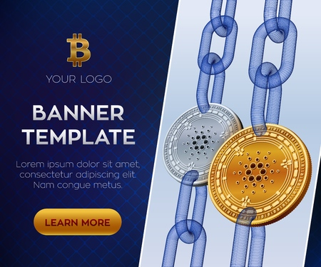 Crypto currency editable banner template. Cardano. 3D isometric Physical bit coin. Golden and silver Cardano coins with wireframe chain. Block chain concept. 向量圖像