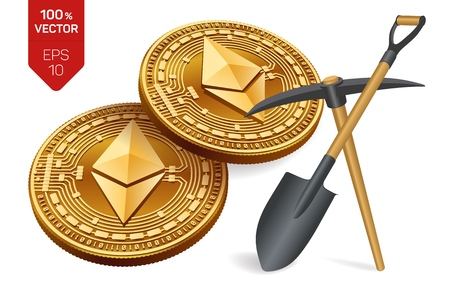 Ethereum mining concept. 3D isometric Physical bit coin with pickaxe and shovel. Digital currency. Cryptocurrency. Golden and silver Ethereum coins isolated on white background.