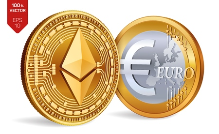 Ethereum. Euro coin. 3D isometric Physical coins. Digital currency. Cryptocurrency. Golden coins with Ethereum and Euro symbol isolated on white background. Vector illustration