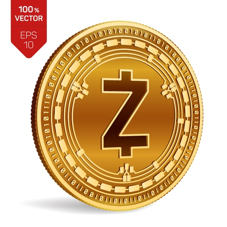 Zcash. 3D isometric Physical coin. Digital currency. Cryptocurrency. Golden coin with Zcash symbol isolated on white background. Vector illustration