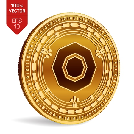 Komodo. 3D isometric Physical coin. Digital currency. Cryptocurrency. Golden coin with Komodo symbol isolated on white background. Vector illustration Illustration