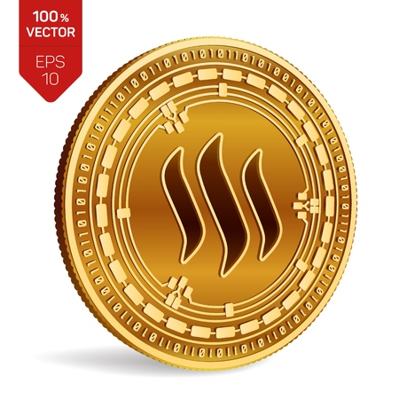 Steem. 3D isometric Physical coin. Digital currency. Cryptocurrency. Golden coin with Steem symbol isolated on white background. Vector illustration