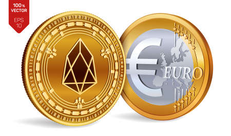 EOS. Euro coin. 3D isometric Physical coins. Digital currency. Cryptocurrency. Golden coins with EOS and Euro symbol isolated on white background. Vector illustration