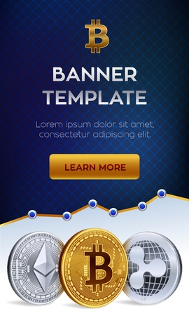 Cryptocurrency editable banner template. Bitcoin, Ethereum, Ripple. 3D isometric Physical coins. Golden bitcoin coin and silver ethereum and ripple coins. Stock vector illustration Imagens - 104782641
