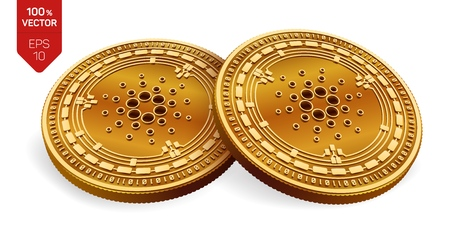 Cardano. Crypto currency. 3D isometric Physical coins. Digital currency. Golden coins with Cardano symbol isolated on white background. Vector illustration