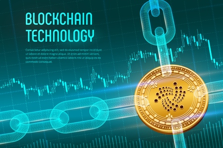 Iota. Crypto currency. Block chain. 3D isometric Physical golden Iota coin with wireframe chain on blue financial background. Blockchain concept. Editable Cryptocurrency template. Vector illustration
