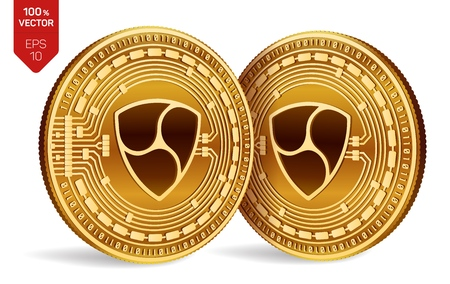 Nem. Crypto currency. 3D isometric Physical coins. Digital currency. Golden coins with nem symbol isolated on white background. Vector illustration
