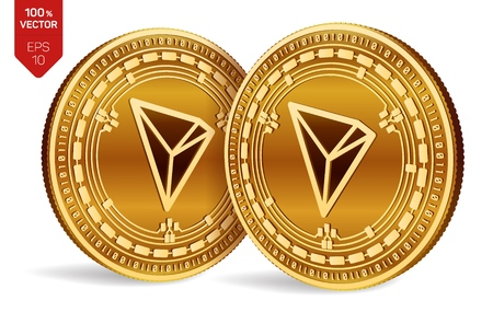 Tron. 3D isometric Physical coins. Digital currency. Cryptocurrency. Golden coins with Tron symbol isolated on white background. Vector illustration