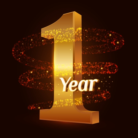 1 year golden anniversary 3d logo celebration with Gold glittering spiral star dust trail sparkling particles. One year anniversary modern design elements. Vector Illustration
