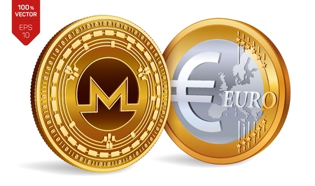 Monero. Euro. 3D isometric Physical coins. Digital currency. Cryptocurrency. Golden coins with Monero and Euro symbol isolated on white background. Vector illustration Illustration