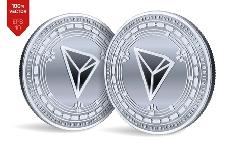 Tron. 3D isometric Physical coins. Digital currency. Cryptocurrency. Silver coins with Tron symbol isolated on white background. Vector illustration