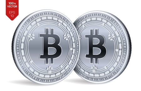 Bitcoin Cash. Crypto currency. 3D isometric Physical coins. Digital currency. Silver coins with Bitcoin Cash symbol isolated on white background. Block chain. Vector illustration 向量圖像