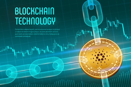 Cardano. Crypto currency. Block chain. 3D isometric Physical golden Cardano coin with wireframe chain on blue financial background. Blockchain concept. Editable Cryptocurrency template. Vector illustration Vector Illustration