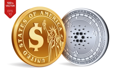 Cardano. Dollar coin. 3D isometric Physical coins. Digital currency. Cryptocurrency. Golden and silver coins with Cardano and Dollar symbol isolated on white background. Vector illustration Vectores