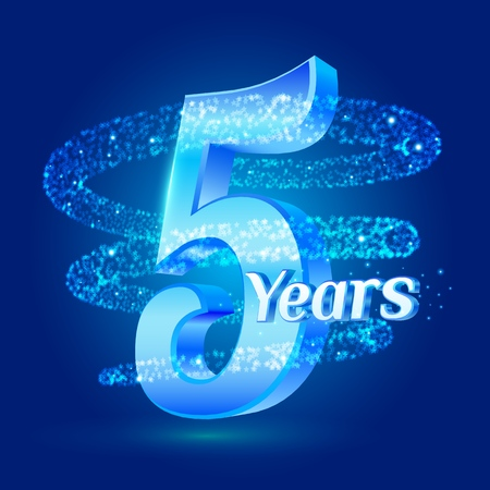 5 years shine anniversary 3d logo celebration with glittering spiral star dust trail sparkling particles. Five years anniversary modern design elements. Vector Illustration