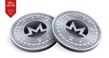 Monero. 3D isometric Physical coins. Digital currency. Cryptocurrency. Silver coins with Monero symbol isolated on white background. Vector illustration Vector Illustration