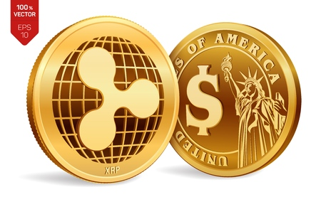 Ripple. Dollar coin. 3D isometric Physical coins. Digital currency. Cryptocurrency. Golden coins with Ripple and Dollar symbol isolated on white background. Vector illustration