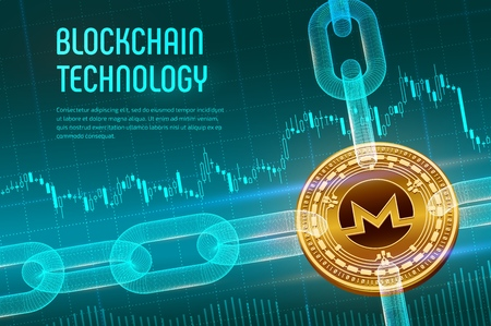 Monero. Crypto currency. Block chain. 3D isometric Physical golden Monero coin with wireframe chain on blue financial background. Blockchain concept. Editable Cryptocurrency template. Vector illustration
