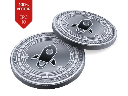 Stellar. 3D isometric Physical coins. Digital currency. Cryptocurrency. Silver coins with Stellar symbol isolated on white background. Vector illustration