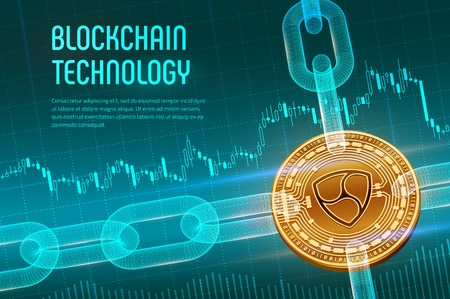 Nem. Crypto currency. Block chain. 3D isometric Physical golden Nem coin with wireframe chain on blue financial background. Blockchain concept. Editable Cryptocurrency template. Vector illustration
