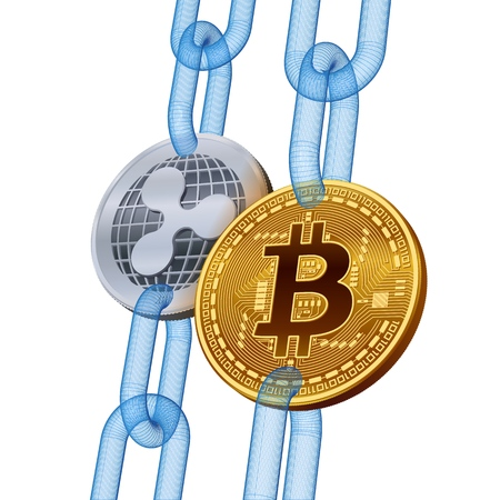 Bitcoin. Ripple. Cryptocurrency. Blockchain. Golden Bitcoin and silver Ripple coins with wireframe chain. 3D isometric Physical coins. Block chain concept. Editable template. Vector illustration