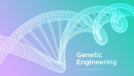 Séquence d'ADN. Filaire de structure de molécules d'ADN maillage. Modèle modifiable de code ADN. Concept de science et technologie. Illustration vectorielle